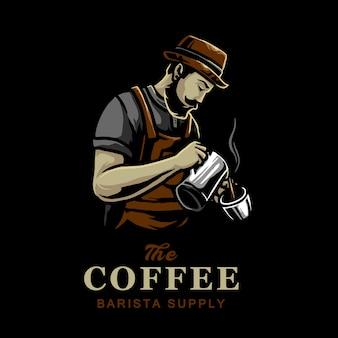 Miscelatori di caffè nella progettazione di logo di vettore di caffetteria