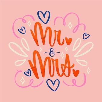 Mister e padrona lettering di testo di nozze