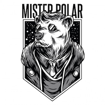Mister polar illustrazione in bianco e nero