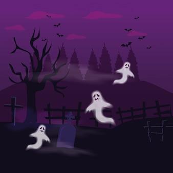 Misteri dei fantasmi con la tomba nell'illustrazione di halloween di scena