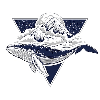 Misteriosa arte boho della balena che vola in aria. nuvole, montagne e luna sullo sfondo. cielo stellato a forma di triangolo. illustrazione surreale astratta con motivi di geometria sacra. arte vettoriale.