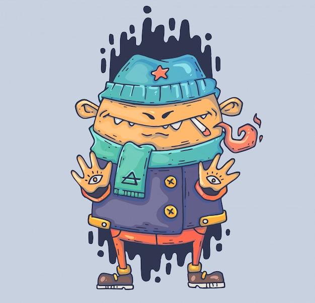 Misterioso bullo con una sigaretta. illustrazione di cartone animato personaggio in stile grafico moderno.