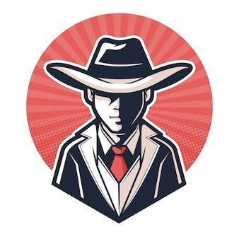 Misterioso concetto di personaggio gangster