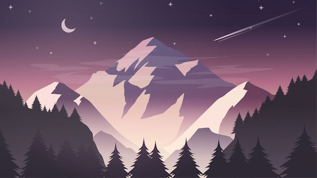 Misty snow mountain cliff pine tree forest nature landscape con la luna e le stelle al crepuscolo, alba, notte