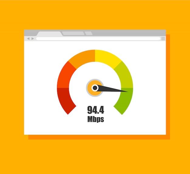 Misuratore del punteggio di credito. modello di browser web con test di velocità su di esso. isolato