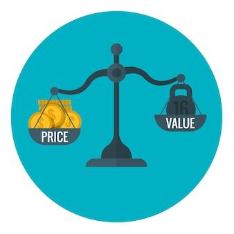Misurazione aziendale di prezzo e valore con scala, prezzi per il concetto di profitto vettoriale