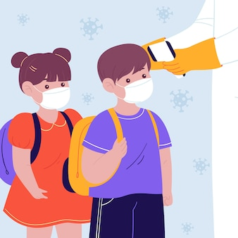 Misurazione della temperatura nella scuola materna, bambini in fila, ritorno al concetto di scuola, istruzione dopo la pandemia di coronavirus