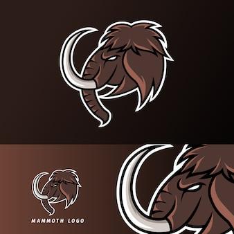 Mito mammut elefante mascotte sport gioco esport logo modello per club squadra squadra streamer