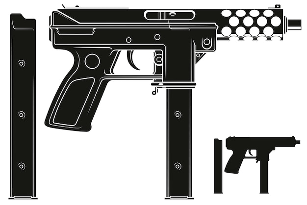 Mitragliatrice silhouette grafica con clip munizioni