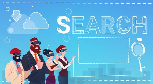 Mix race people group wear digital reality occhiali ricerca dati internet
