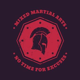 Mma, emblema vintage di arti marziali miste, logo, stampa con elmetto spartano a forma di ottagono rosso