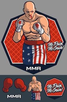 Mma fighter con guanti opzionali