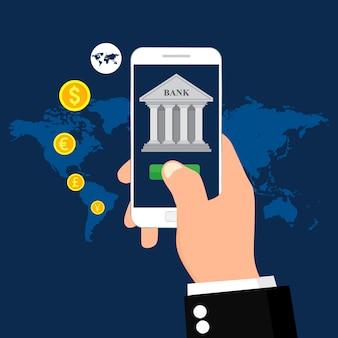 Mobile banking e pagamento mobile. illustrazione per transazione di denaro. piatto .