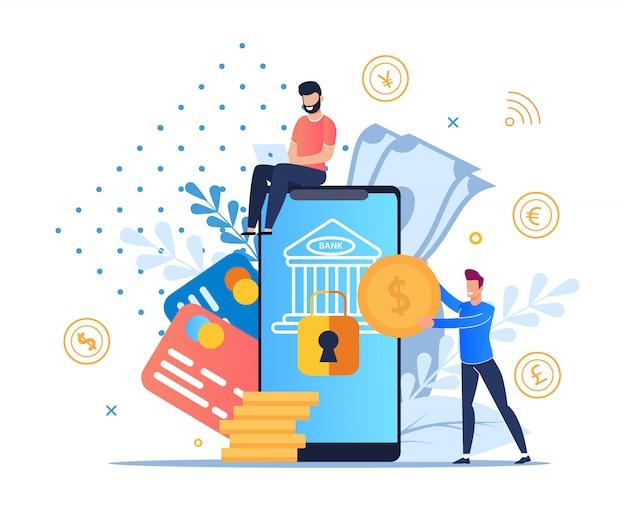 Mobile banking piatto moderno