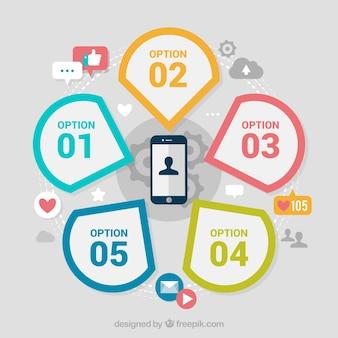 Mobile con elementi infographic