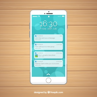 Mobile flat con notifiche di facebook