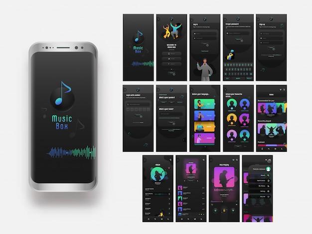 Mobile ui kit di music box con schermate multiple o schermate dell'account creativo.