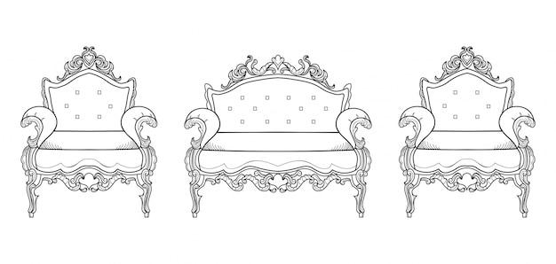 Mobili di poltrone con ornamenti di lusso. vettore francese struttura ricca di lusso di intricato. decorazione di stile reale vittoriano