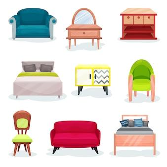 Mobili per camera da letto, elementi interni per ufficio o casa illustrazioni su uno sfondo bianco