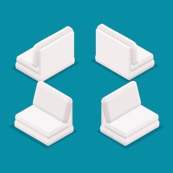 Mobilia dell'ufficio 3d degli oggetti isometrici di tendenza, retrovisione di vista frontale del sofà isolata