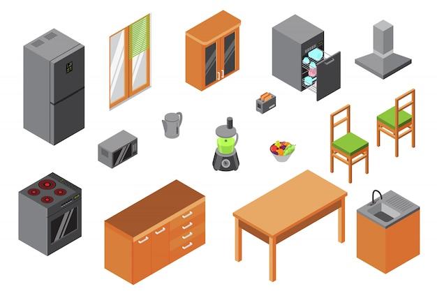 Mobilia della cucina, costruttore isometrico degli elettrodomestici e attrezzatura della cucina isolata su progettazione bianca e 3d interna.