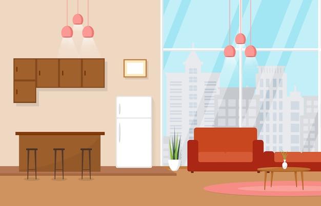 Mobilia interna di lusso dell'attico dell'appartamento dell'attico del salone