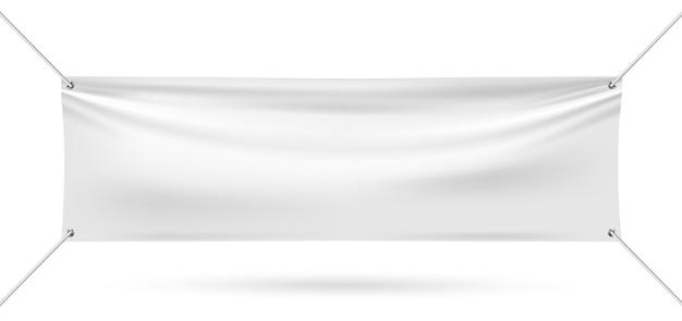 Mock up banner in vinile su sfondo bianco