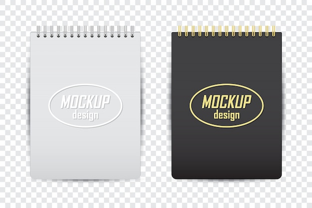 Mock up del notebook in due colori con ombra su uno sfondo trasparente