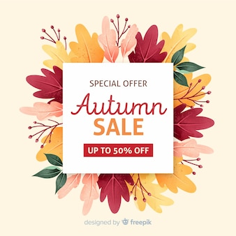 Mock-up di vendita autunno con fogliame secco
