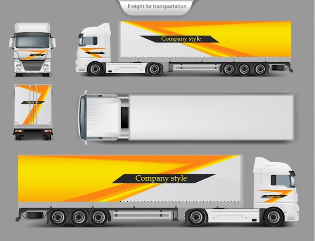 Mock up, modello di design del marchio per camion