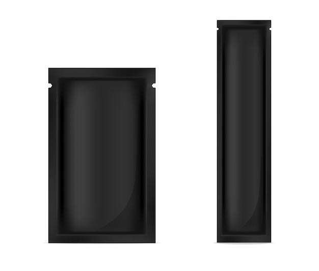 Mock up realistic black foil sachet per imballaggi alimentari