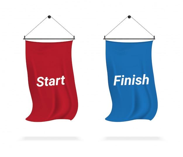 Mock up realistic flag display start e finish per la mostra sportiva