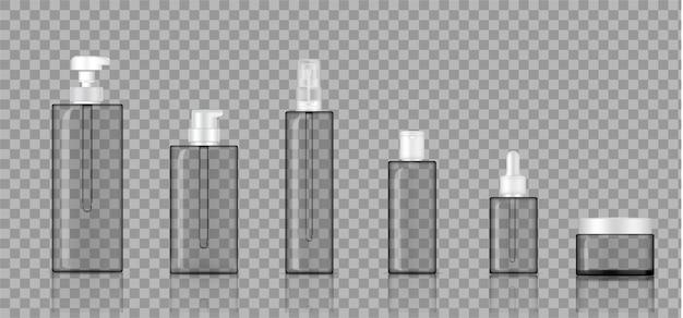Mock up realistic transparent bottle