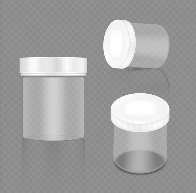 Mock up realistic transparent white jar
