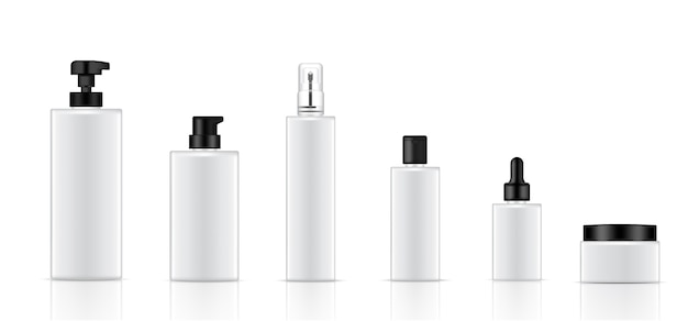 Mock up realistic white cosmetic bottle