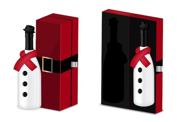 Mock up realistic wine bottle per la festa di natale
