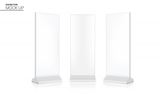 Mock up realistico roll up banner chiosco display 3d pop stand per la vendita di marketing