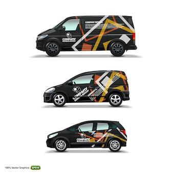 Mock up set con pubblicità su black car