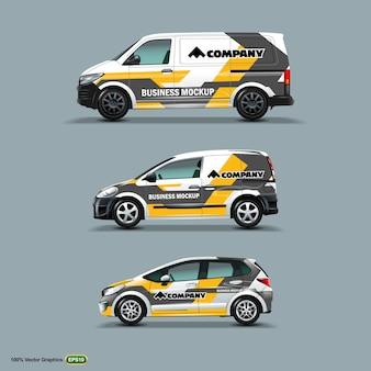 Mock up set con pubblicità su white car