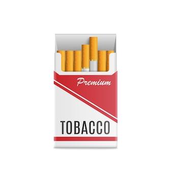 Mockup 3d realistico pacchetto di sigarette. vettore
