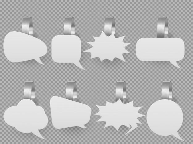Mockup bolle di discorso wobbler, tag pop-up di prezzo