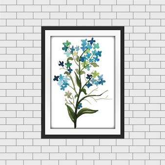 Mockup della cornice floreale dell'acquerello