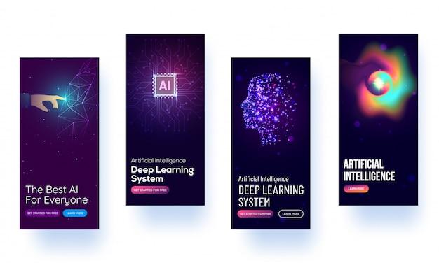Mockup dello schermo splash per l'apprendimento del concetto di intelligenza artificiale o interfaccia utente.