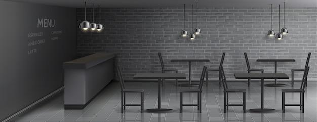 Mockup di bar interno con bancone bar vuoto, tavoli da pranzo e sedie, lampade a soffitto