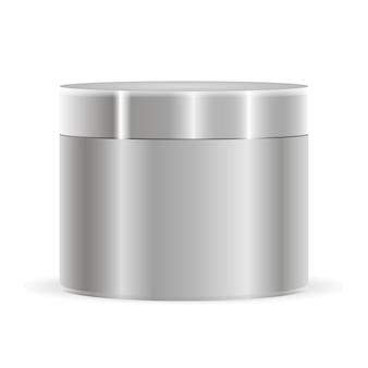 Mockup di barattolo di crema color argento metallizzato. bottiglia cosmetica