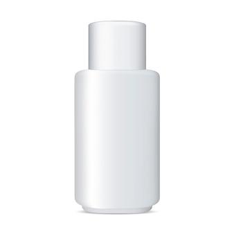 Mockup di bottiglia cosmetica bianca. prodotto pubblicitario