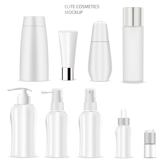 Mockup di bottiglia cosmetica. sapone, shampoo, tubo, crema