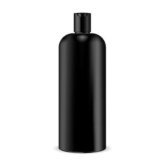 Mockup di bottiglia di shampoo cosmetico nero