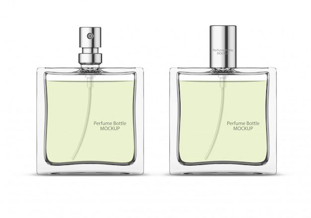 Mockup di bottiglia di vetro di profumo, modello di flaconi per la cosmetica vuoto. design del pacchetto.