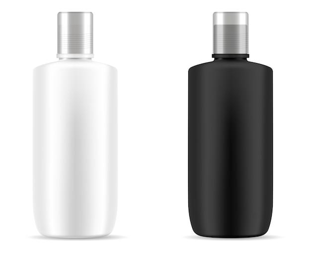 Mockup di bottiglie cosmetiche di shampoo in bianco e nero.
